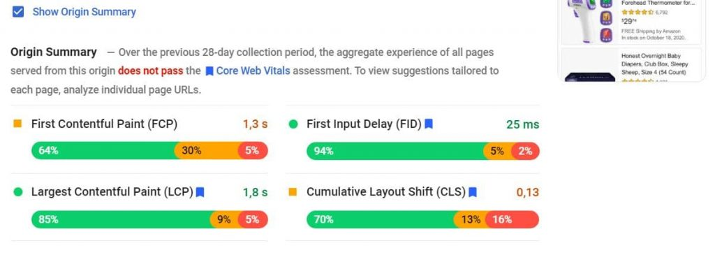 Origin summary of field data on PageSpeed Insights
