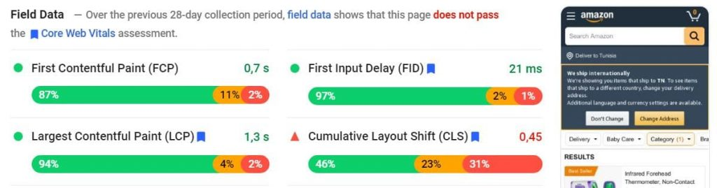 PageSpeed Insights report of Web Vitals field and lab metrics