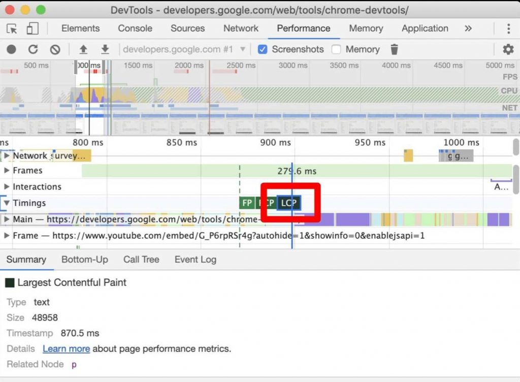 LCP marker in Devtools Performance panel