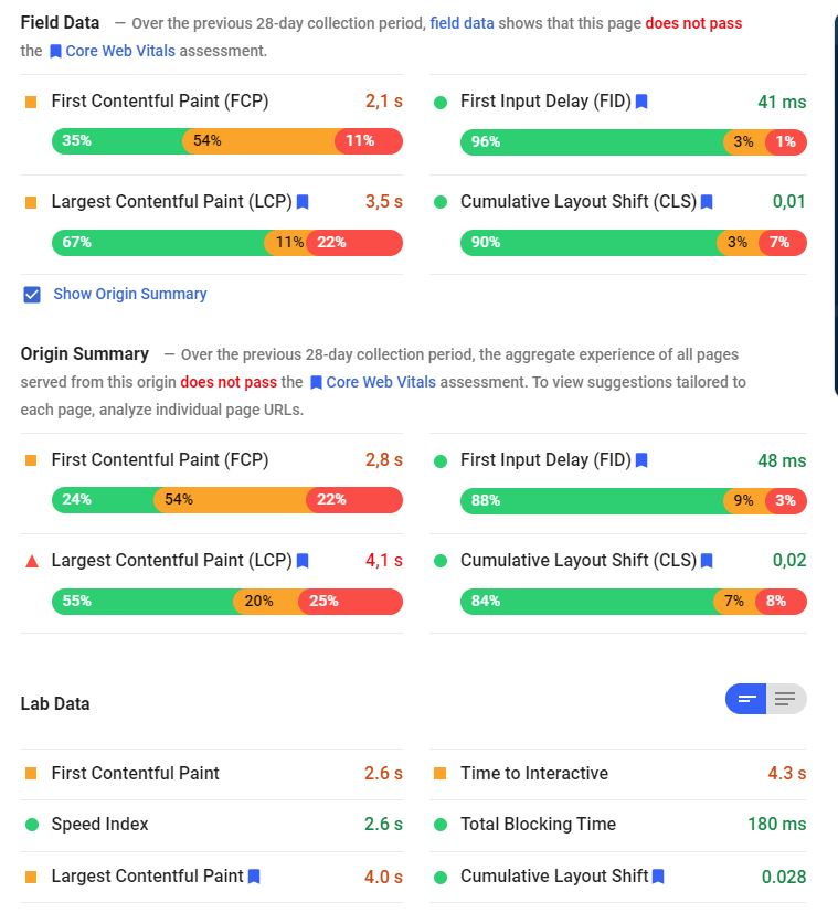 PageSpeed Insights measures CLS (Cumulative Layout Shifts)
